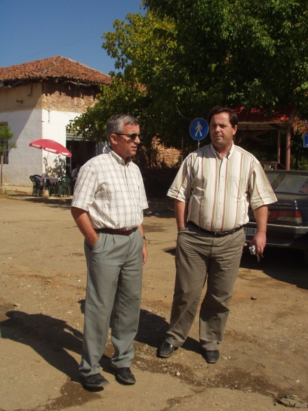 The mayor of Burrel, Dr Skender Lleshi, to the right. Qemal Minxhozi to the left. Photo: Bjoern Andersen