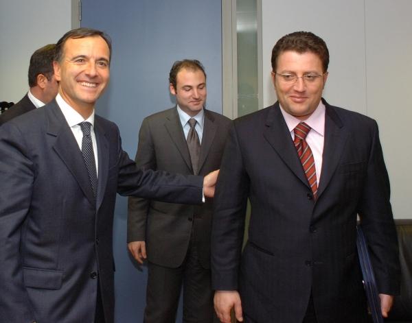 Kommissær Frattini, Justitsminister Bumci (Albanien) og Indenrigsminister Olldashi (Albanien). Møde i Bruxelles. 22.11.2005. © European Community, 2005