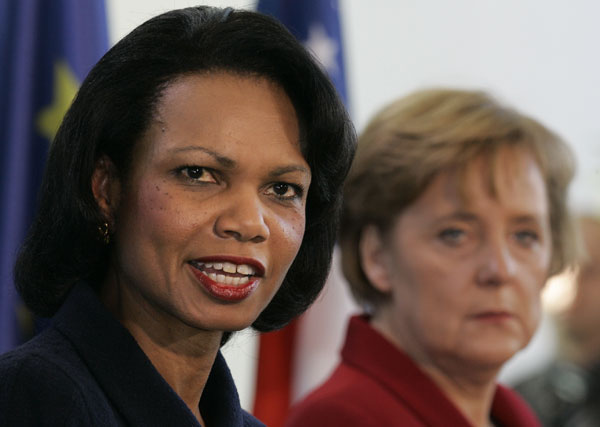 Rice og Merkel. Officielt foto